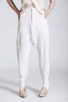 922b630ba93f Androgynous Style. drop crouch pants. Women s White Wedding Suit. Same-sex  wedding