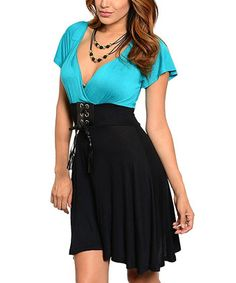 Black & Jade Color Block Empire-Waist Dress
