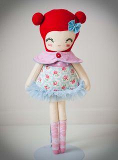 Red Shabby chic love lulu doll by nooshka on Etsy