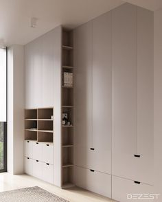 Contemporary Neutral Homes That Don't Need Bold Color To Wow (Interior Design Ideas) Bedroom Closet Doors Sliding, Bedroom Closet Design, Bedroom Wardrobe, Wardrobe Doors, Interior Design Living Room, Modern Closet Doors, Hallway Closet, Flur Design, Futuristisches Design