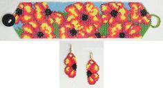 Flaming Flowers Bracelet & Earrings Pattern from Bead Art by Ronit at Sova-Enterprises.com