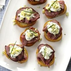 Beef & Blue Cheese Crostini with Horseradish Cream Sauce, Slice of Heaven !! -=- from South Your Mouth