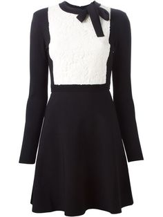 0a41c2e3f20 Shop Valentino lace panel A-line dress in Boutique Mantovani from the  world s best independent