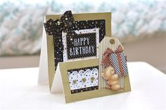 Handmade Forever Friends Stepper Card Tutorial   The foiled silver and gold papers in the Forever Friends Classic Decadence range make it easy to create glamorous birthday cards. For this stepper card I've used glitter craft tape to create a frame around each panel for extra sparkle.