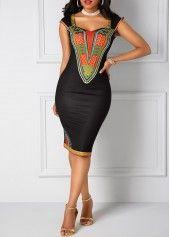 Black Open Back Dashiki Print Sheath Dress