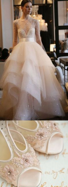 Fairytale wedding starts from a magical Monique Lhuillier Aviva blush tulle dress with an equally enchanting beaded shoes, Paloma from Bella Belle Shoes.