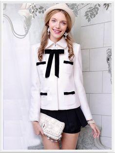 Morpheus Boutique  - White Black Bow Wool Long Sleeve Jacket Coat