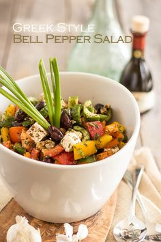 Greek Style Bell Pepper Salad with Feta