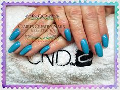 CND Shellac Cerulean Sea layered with Dazzling Dance. By Claire's Creative Nails, Northampton. Call or text: 07752 397245 to book your appointment. #shellac #Northampton #ibx #NailSalon #glitter #cnd #NailTechnician