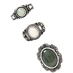 Forever 21 Faux Gem Ring Set ($5.90) ❤ liked on Polyvore featuring jewelry, rings, fillers, imitation jewellery, gem rings, artificial jewelry, imitation jewelry and fake jewelry