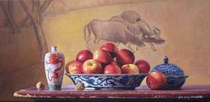 """Yin Yong Chun, Red Apples with Chinese Porcelain, 2013, oil on canvas, 12 x 24"""" at William Baczek Fine Arts www.wbfinearts.com"""