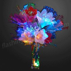 "14"" Fiber Optic Flowers in Assorted Colors - SKU NO: 11888"