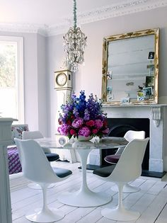 gorg flowers, tulip table & chairs, pretty wall color