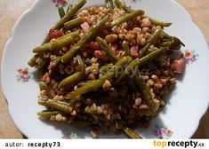 Pohanka se slaninou a fazolkami recept - TopRecepty.cz No Salt Recipes, Quinoa, Asparagus, Green Beans, Beef, Vegetables, Cooking, Health, Food Ideas
