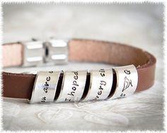 leather bracelet mens custom leather bracelet quote jewelry 3rd wedding anniversaryanniversary gifts