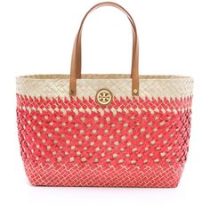 Tory Burch Small Straw Square Tote ($123) ❤ liked on Polyvore