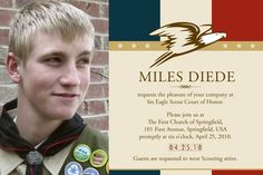 Eagle Scout  Invitations  for Court of Honor/ Card- American theme