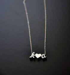 A Couple Love Initials Necklace in Silver - Boyfriend Girlfriend, Anniversary, Husband and Wife, Custom Wedding Gift, Script Cursive