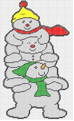 SNOWMEN PILE UP by DAISY -- WALL HANGING