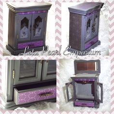 Grey and purple jewelry armoire