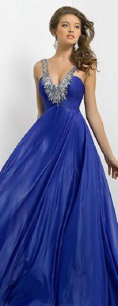 Fashion Natural Chiffon V-neck Light Sky Blue Sleeveless Prom Dresses klkdresses61521mji #longdress #promdress