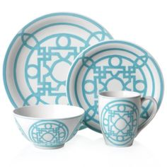 Labyrinth Dinnerware Collection - Aquamarine Set of 4 from Z Gallerie