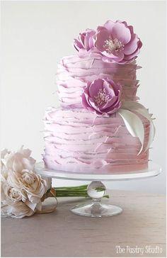 pretty lavender ruffles wedding cake Himisspuff.com