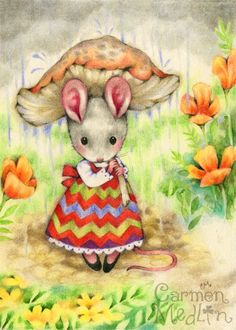"""Caught in the Rain - cute mouse colored pencil art by Carmen Medlin : Look, Linda, it's a mouse with a """"rainbrella!"""""""