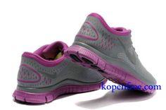 Goedkoop Schoenen Nike Free 4.0 V2 Dames (kleur:vamp&logo-grijs;zool en binnenkant-paars ) Online Winkel.