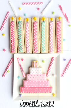 Cute birthday candle and cake cookies by CookieCrazie.