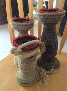 Western Rope Set of 3 candle holders by USpur on Etsy, $65.00