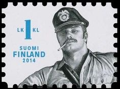 Stamp: Pair of man; masculine homoerotic drawings (Finland) (Tom of Finland)…