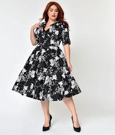 bd392a8519ebb Unique Vintage Plus Size 1950s Black   White Floral Delores Swing Dress  with Sleeves