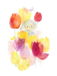"chihiro iwasaki images | Iwasaki Chihiro ""Hoa tulip và trẻ em"" (Khoảng 1970)"