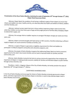 SEDRO-WOOLLEY, WA - Mayoral proclamation recognizing Diaper Need Awareness Week (Sep. 26th - Oct. 2, 2016) Diaperneed.org #Diaperneed