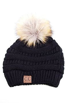 69ea3e95db8d1 Soft Stretch Cable Knit Ribbed Faux Fur Pom Pom Beanie Hat (Black)  Top  quality soft stretch slouch beanie with fur pom pom. Warm knit solid color  beanie ...