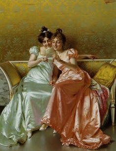 The Letter by Vittorio Reggianini. I love the shimmer of the satin dresses. Marvelous recapture.