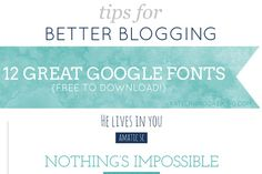 Tips for Better Blogging Here are some free downloadable Google fonts that are great for your blogs. They are great for headlines and …