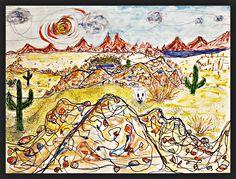 Palette in the Desert - gouache/watercolor
