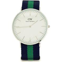 Daniel Wellington Herren Weiß Quarz Zifferblatt, blau und grün Nylon Gurt Armbanduhr 0205DW - http://uhr.haus/daniel-wellington/daniel-wellington-herren-weiss-quarz-blau-und