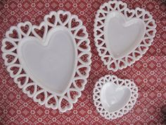Three Milk Glass Heart-Shaped Dishes