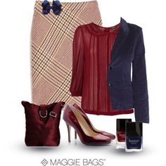 Crimson and Navy by maggiebags on Polyvore