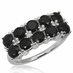 3.4ct. Natural Black Sapphire 925 Sterling Silver Ring RN0075439 SilverShake.com