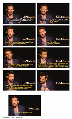 Hugh Jackman, Les Misérables Stars is my favorite song from the movie! Theatre Nerds, Musical Theatre, Theater, Sound Of Music, Hugh Wolverine, Hugh Michael Jackman, Larry, The Greatest Showman, Laugh Out Loud