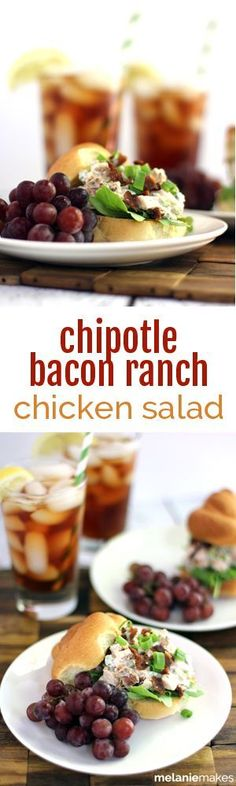 Grilled chicken, Greek yogurt, green onions and bacon are flavored with ranch dressing mix and a chipotle pepper to provide a cool Chipotle Bacon Ranch Chicken Salad that packs a bit of heat.