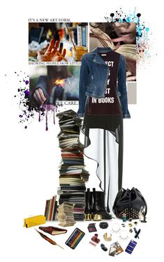 """""""Believe me, I've had enough of both boys and books to know..."""" by getbentbatman ❤ liked on Polyvore featuring Miss Selfridge, Armani Jeans, Pull&Bear, Maiyet, Monserat De Lucca, Lola Rose, Hive & Honey, NLY Accessories, Donna Karan and Laura Geller"""