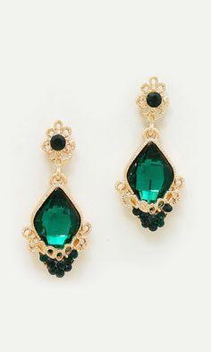 Crystal Milla Earrings in Emerald