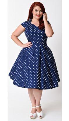 Plus Size 1950s Style Navy & White Polka Dot Swing Dress