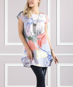 Periwinkle Floral Curved-Hem Tunic - Plus Too