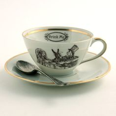 Alice in Wonderland Tea Party Cup Vintage Altered Tea Coffee Saucer Porcelain White Brown Romantic on Etsy, $35.43